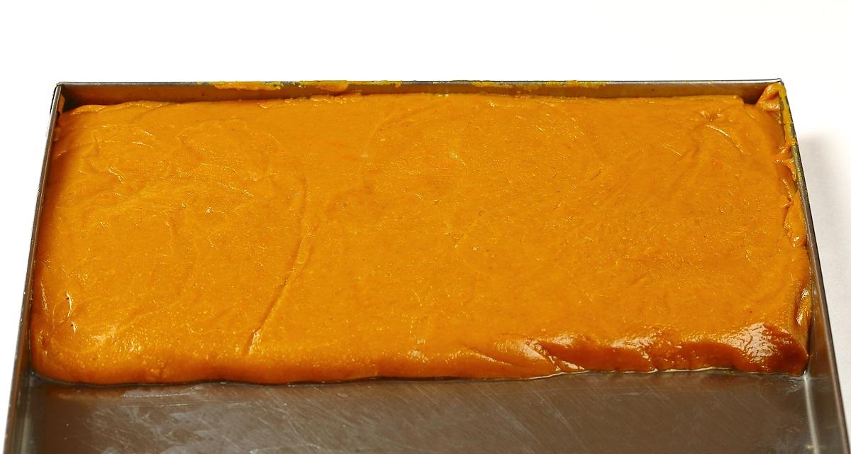 Chocolate Barfi Mixture in a Trey